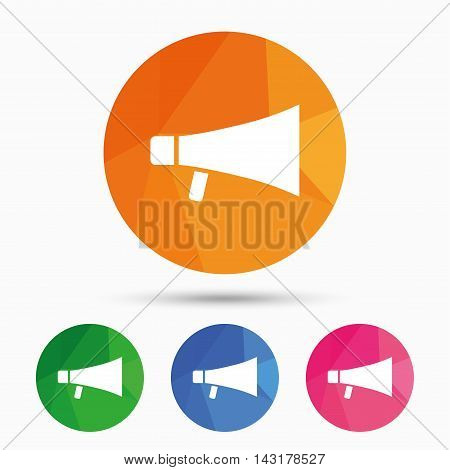 Megaphone sign icon. Loudspeaker symbol. Triangular low poly button with flat icon. Vector