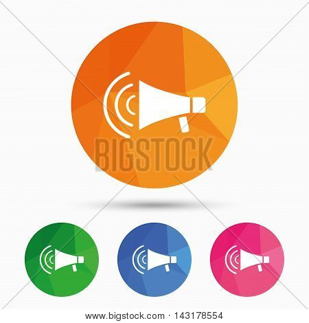 Megaphone sign icon. Loudspeaker strike symbol. Triangular low poly button with flat icon. Vector