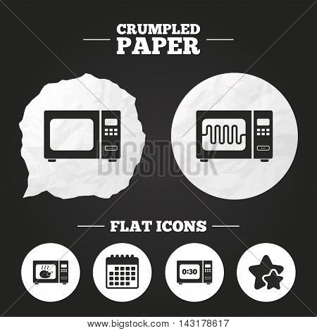 Crumpled paper speech bubble. Microwave oven icons. Cook in electric stove symbols. Grill chicken with timer signs. Paper button. Vector