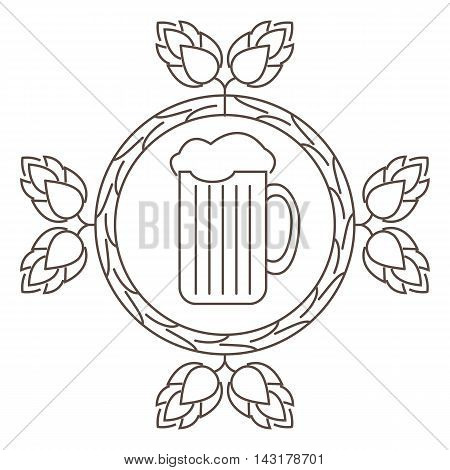 Logo or stamp Oktoberfest with the image of hops malt and beer mugs. Vector illustration.