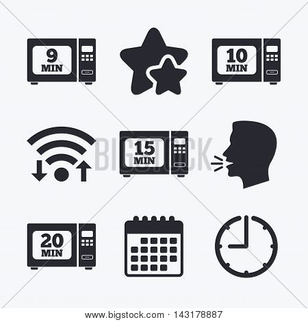 Microwave oven icons. Cook in electric stove symbols. Heat 9, 10, 15 and 20 minutes signs. Wifi internet, favorite stars, calendar and clock. Talking head. Vector