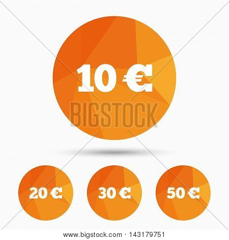 Money in Euro icons. 10, 20, 30 and 50 EUR symbols. Money signs Triangular low poly buttons with shadow. Vector