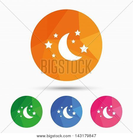 Moon and stars icon. Sleep dreams symbol. Night or bed time sign. Triangular low poly button with flat icon. Vector
