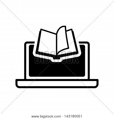 ebook book laptop technology reading icon. Flat silhouette and isolated design. Vector illustration