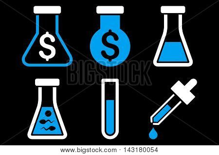Alchemy vector icons. Pictogram style is bicolor blue and white flat icons with rounded angles on a black background.