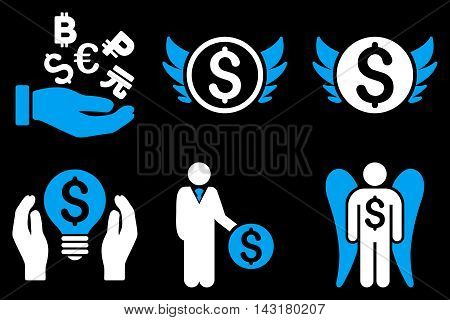 Angel Investor vector icons. Pictogram style is bicolor blue and white flat icons with rounded angles on a black background.
