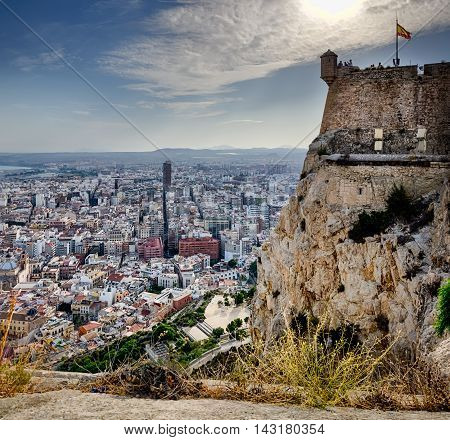 Santa Barbara castle tower and view on the city in Alicante, Spain