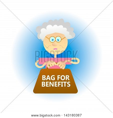 Concept of economic problem such as population aging a large number of pensions and benefits. Flat style vector illustration. Granny with a big bag.