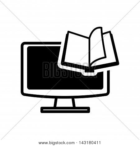 ebook book computer technology reading icon. Flat silhouette and isolated design. Vector illustration