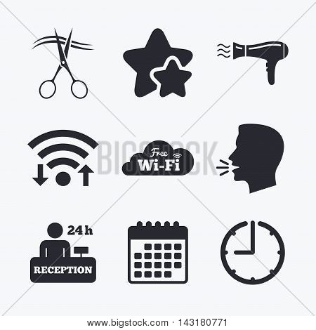 Hotel services icons. Wi-fi, Hairdryer in room signs. Wireless Network. Hairdresser or barbershop symbol. Reception registration table. Wifi internet, favorite stars, calendar and clock. Talking head. Vector