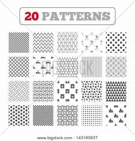 Ornament patterns, diagonal stripes and stars. Hotel services icons. Washing machine or laundry sign. Hairdresser or barbershop symbol. Reception registration table. Quiet sleep. Geometric textures. Vector