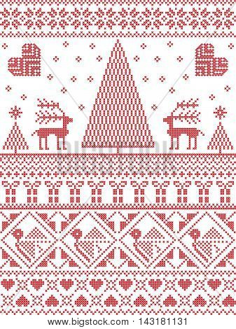 Scandinavian Printed Textile  style and inspired by  Norwegian Christmas and festive winter seamless pattern in cross stitch with Xmas trees, snowflakes, Reindeer, stars, hearts, decorative ornaments