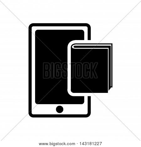ebook book smartphone technology reading icon. Flat silhouette and isolated design. Vector illustration