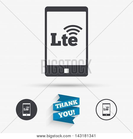4G LTE sign in smartphone icon. Long-Term evolution sign. Wireless communication technology symbol. Flat icons. Buttons with icons. Thank you ribbon. Vector