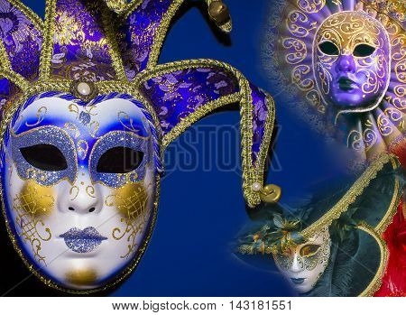 The collage of traditional venetian masks on blue background
