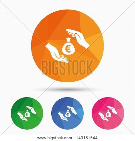 Protection money bag sign icon. Hands protect cash in Euro symbol. Money or savings insurance. Triangular low poly button with flat icon. Vector