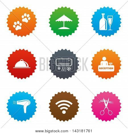 Hotel, apartment services icons. Wifi internet sign. Pets allowed, alcohol and air conditioning symbols. Stars label button with flat icons. Vector