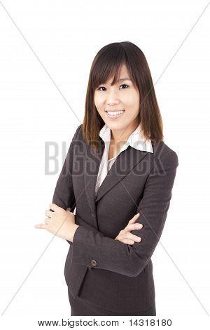Mulher de negócios asiáticos inteligente.Isolado com fundo branco