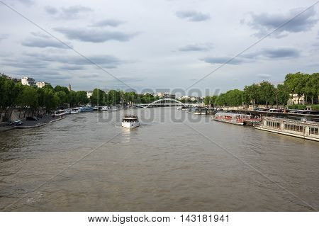 PARIS FRANCE - MAY 07 2015: The river Seine in the historical centre of Paris the capital and most popular city of France