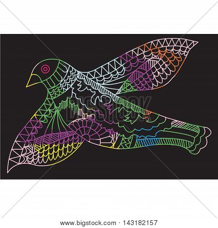Doodle drawing flying birds vector illustration on a black background