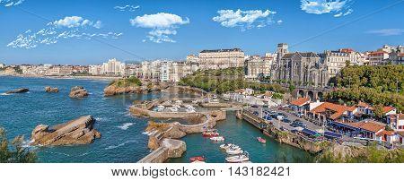 Panorama of port area in Biarritz Aquitaine France