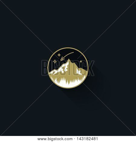 Flat vector emblem of lone mountain. Circle badge. Vintage logo design template
