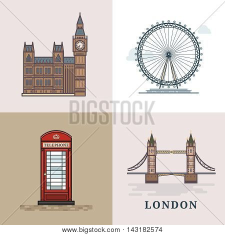 Flat modern vector London, the capital of Great Britain with Big Ben, bridge, telephone and London Eye. Line art vector background