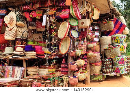 Colorful Soevenirs At A Market In Africa