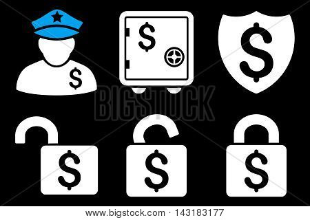 Financial Guard vector icons. Pictogram style is bicolor blue and white flat icons with rounded angles on a black background.