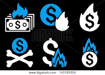 Fire Disaster vector icons. Pictogram style is bicolor blue and white flat icons with rounded angles on a black background.