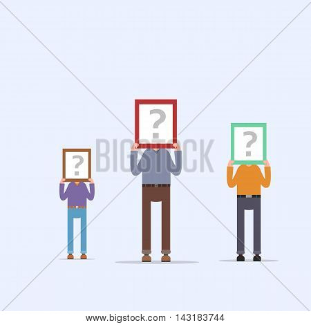 People hold signs with question marks as yet unable to determine who they are . EPS 10 Vector. flat