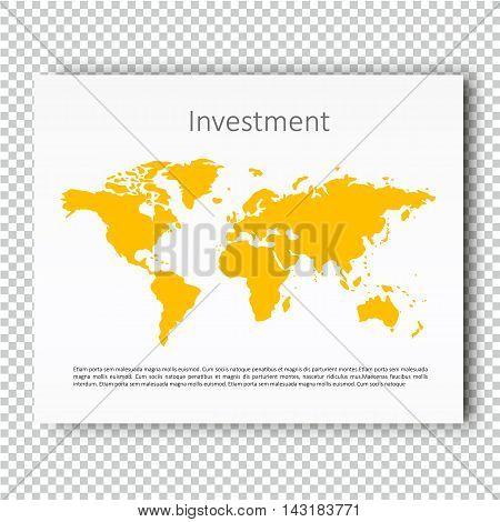 Investment World Map Presentation slide Template, Business Layout design, Modern Style, Vector design illustration. Yellow color version.