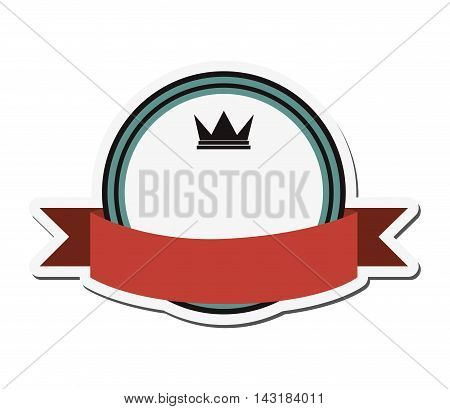 flat design crown masculine emblem icon vector illustration