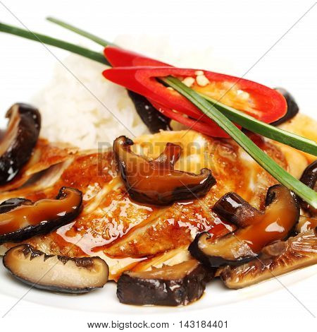Chicken fillet and mushrooms gourmet restaurant food background