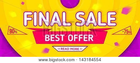 Final sale banner. Sale and discounts. Vector illustration