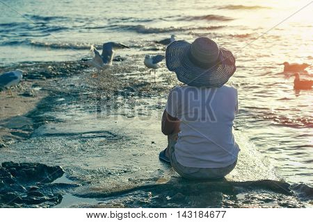 Relaxing on the beach in the evening sunset - enjoys in vacation, enjoys in landscape