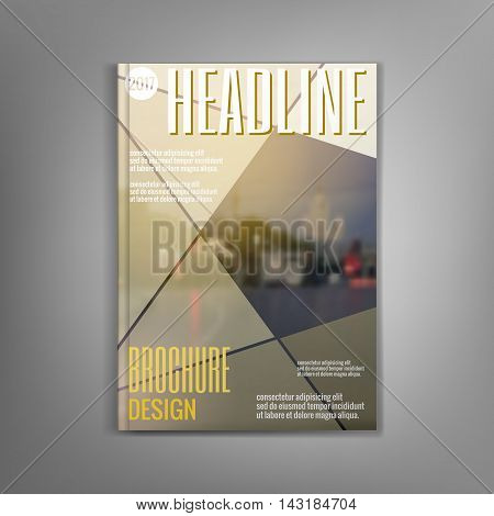 Beige brochure template, flyer, leaflet, presentation covers, annual report. Modern dynamic design Vector illustration