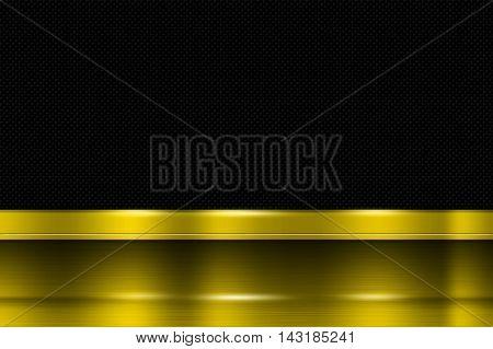 yellow metal banner on black carbon fiber. metal background. 3d illustration.