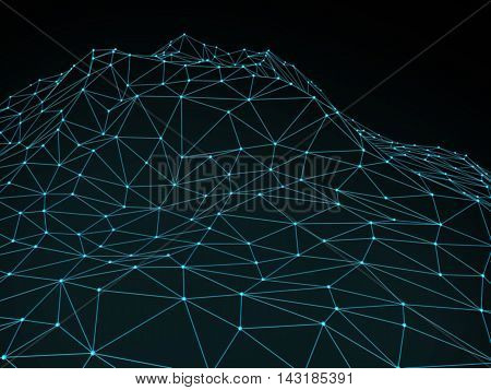 Abstract landscape background. Cyberspace grid / summit.