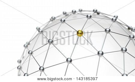 Abstract Digital network communication with gold highlight.
