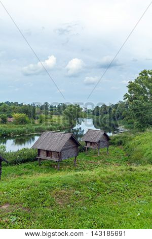 Traditional Wooden Houses near river in Suzdal Russia