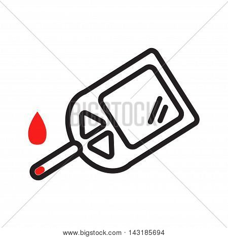 Home glucometer. concept of pharmacy, portable technology, measuring, analysis, hypoglycemic, glycemia. isolated on white background. flat style trend modern design vector illustration
