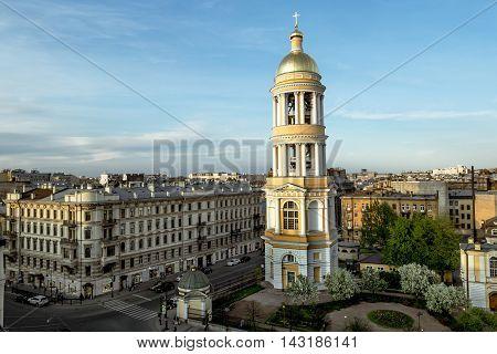 May 13 2016. Saint-Petersburg. View on the belfry of the Vladimir Cathedral in St. Petersburg. Russia