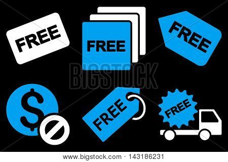 Free Tag vector icons. Pictogram style is bicolor blue and white flat icons with rounded angles on a black background.