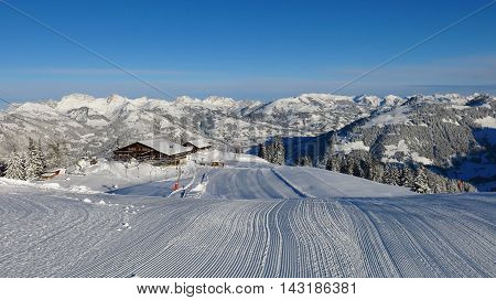 Summit station of the Wispile ski area. Winter landscape in Gstaad Switzerland. Ski slope.