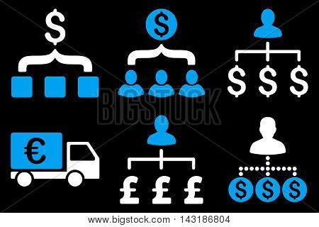 Payment Collector vector icons. Pictogram style is bicolor blue and white flat icons with rounded angles on a black background.
