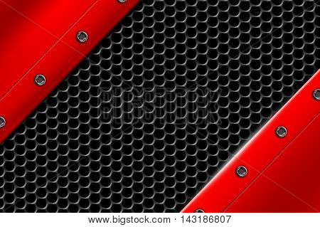red metal background with rivet on gray metallic mesh. background and texture 3d illustration.