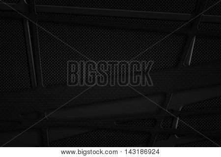gray carbon fiber frame on black carbon background. metal background and texture. 3d illustration material design.