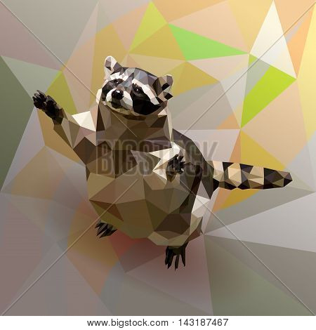 Vector polygon raccoon paws raised to the sky