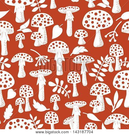Cute amanita vector seamless pattern with leaf and berries. Poisonus mushrooms silhouette wallpaper.
